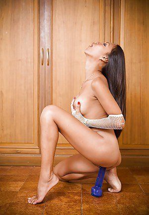 Hot Asian ladyboy Sue stripping and masturbating with a toy in her pussy