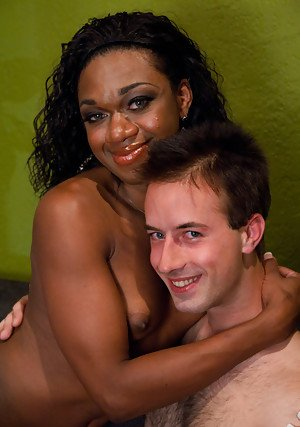 Petite black shemale Janet Jackme getting a blowjob and a rimjob