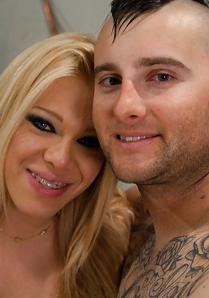 Busty blonde shemale Paris face fucking a guy and cumming in his mouth