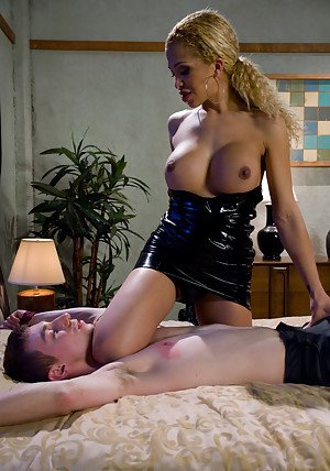 Busty blonde shemale Jessica Host showing of her cock and big boobs