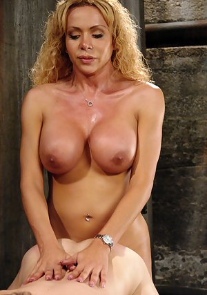 Busty blonde shemale Gia Darling deep dicking a construction worker