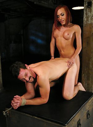 Gorgeous redhead tranny Mia Isabella ass fucking and sucking dick