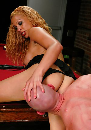 Curvy blonde shemale Jessica Host getting her dick sucked in high heels