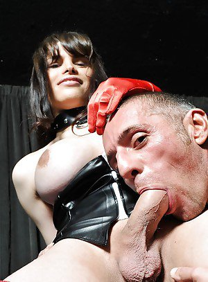 Brunette tranny with big boobs deep dicking a guy's tight ass in latex