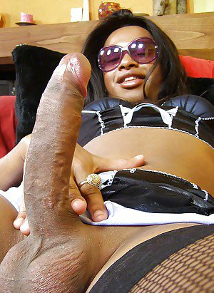 Huge cock Ebony shemale getting a blowjob and deep dicking a guy hard