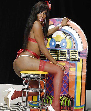 Big booty Ebony shemale getting her cock sucked and ass fucking a dude
