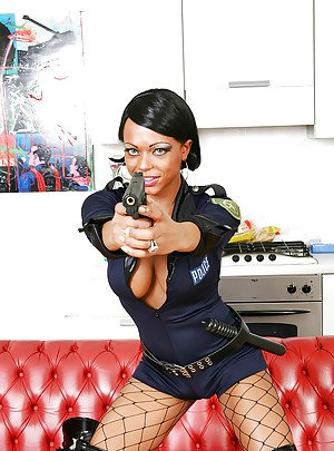 Beautiful Ebony tranny in a police uniform sucking cock and ass fucking