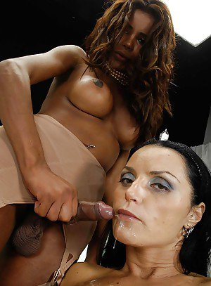 Big dick Latina tranny getting nasty with a horny slut in pantyhose