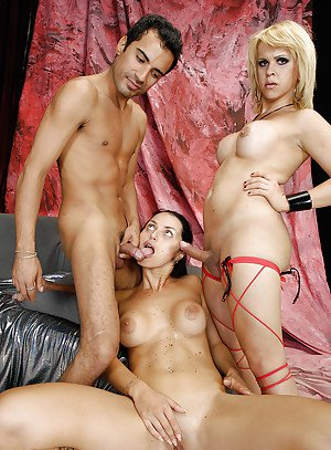 Kinky blonde tranny having hardcore sex with both a man and a woman