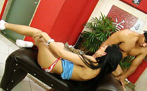 Shaved brunette Latina tranny Beatris loves ass fucking in the bathroom