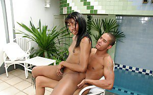Skinny Latina shemale Karolina getting hardcore with her pool boy