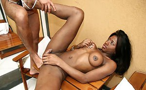 Stunning Ebony shemale Graicy fucking in the ass with her big tits