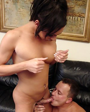 Tall Latina shemale Lexi giving head to man and taking bareback anal fuck