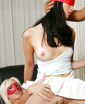 Kinky blonde mistress having fun with her sex slave in a threesome