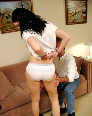 Sexy Latina tranny Angel removing jumper and panties before ass fucking