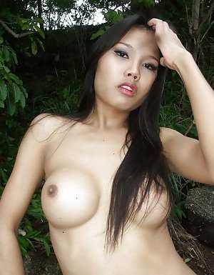 Hairy Asian tranny with big boobs getting her ass toyed by a shemale
