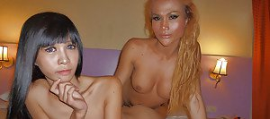 Sexy Asian shemale Noot having fun with her blonde ladyboy friend