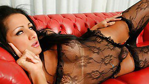 Stunning brunette tranny showing off her big erection to her new friend