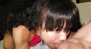 Ladyboy Carrott gives sloppy blowjob and has cum dripping from ass