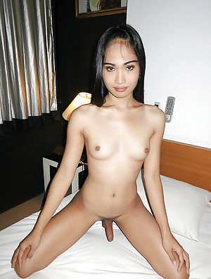 Tiny Thai ladyboy jerks off a Farang in a motel room for some easy money