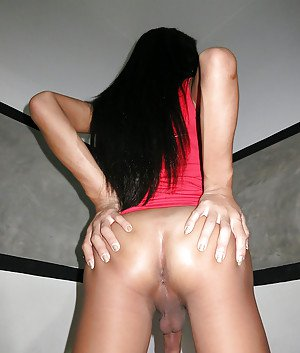 Young brunette Asian shemale Guitar fucking bareback and spreading her ass