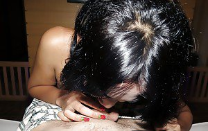 Drunk and horny Asian ladyboy teen Ping giving a blowjob and fucking