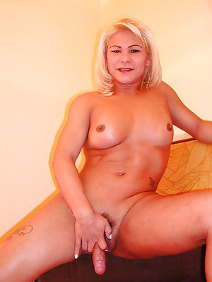 Chubby Asian tranny Shirley taking cock up her ass doggystyle
