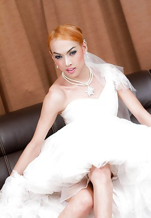 Asian tranny bride Jacky does filthy butthole with sex toy in wedding dress