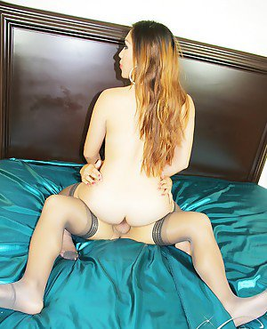 Sexy shemale Nina Stronghold slides her tranny dick into woman's pussy