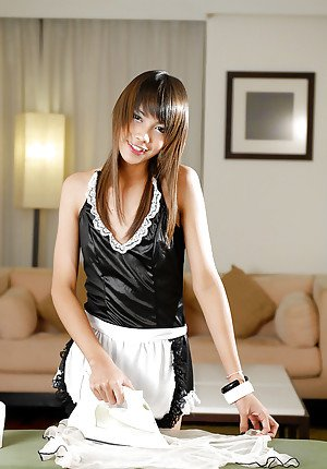 Cute Asian shemale Nay jerking off cock in sexy maid uniform