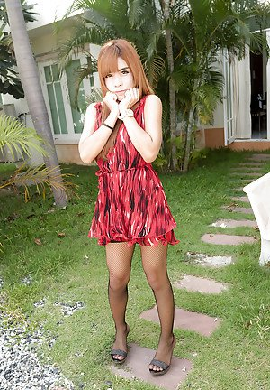 Young Asian shemale Naomi posing outdoors in black fishnet stockings