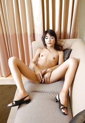 Innocent Thai ladyboy Jane toying asshole while jerking off in lingerie