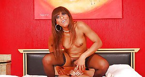 Ebony shemale on male ass fucking sex with redhead Melaine Campbel
