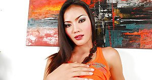 Beautiful brunette ladyboy Tutka giving interracial blowjob POV style