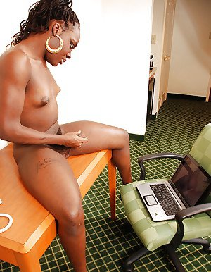 Naughty ebony tranny Lakeisha shows off small tits and masturbates at work