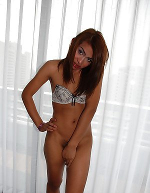 Pretty Asian shemale Earn posing in bra and panty set before masturbating
