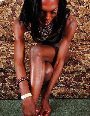 Skinny ebony transsexual Bianca giving POV bj and jerking off BBC