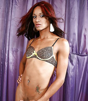 Ebony tranny Rafaella Ninfeta strips down to bra and panties in high heels