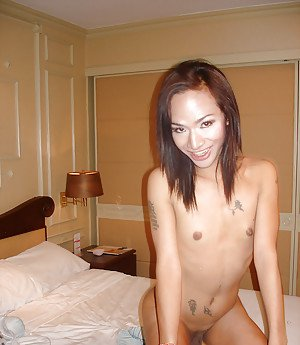 Solo Asian ladyboy Anita showing off tattoos and thick shecock in pigtails