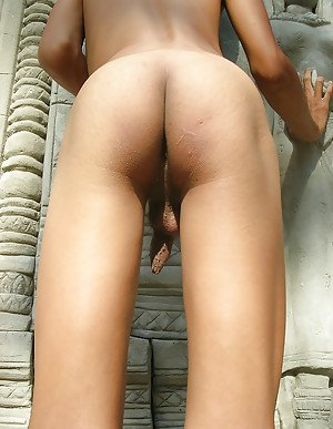 Solo Asian ladyboy Beer exposing huge hooters and small ass outdoors