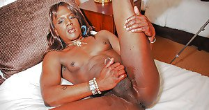 Ebony shemale on male POV blowjob upon large cock provided by Chocolate