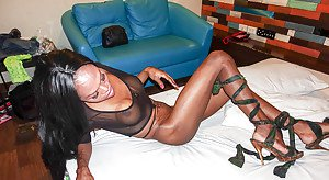 Shemale on male anal sex action with hung black tranny Sunny taking cumshot