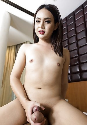 Flat chested Asian ladyboy Boss taking BB anal sex from man with big cock