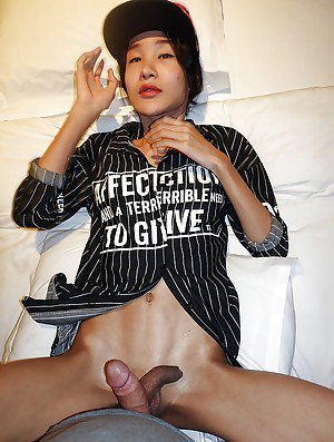 Thin Asian ladyboy Cara crossing swords with man and taking cumshot on cock