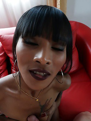 Long legged ladyboy Maria undressing for sexual relations with well hung man